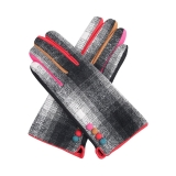 Tweed Effect Coloured Button Gloves